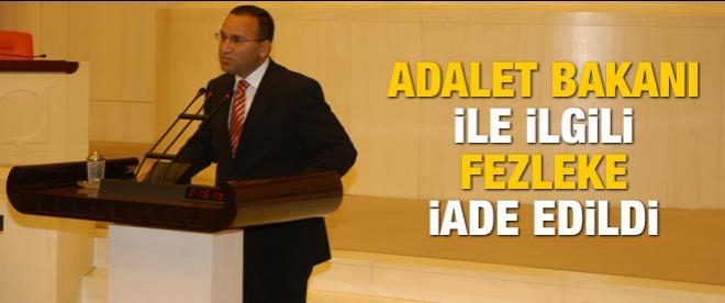 Adalet Bakanı ile ilgili fezleke iade edildi