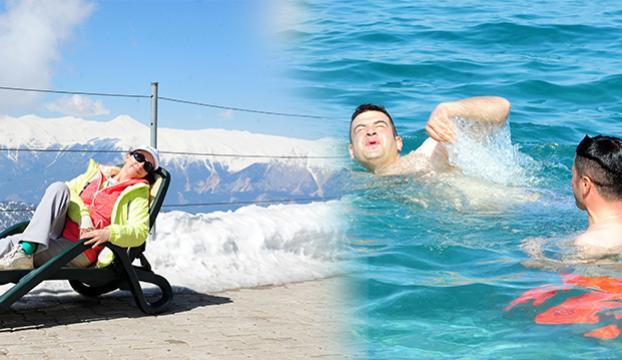 Antalyada kar ve deniz keyfi bir arada