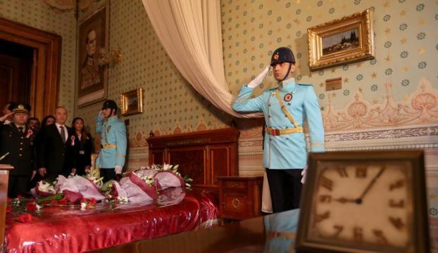 Atatürkün Dolmabahçe Sarayındaki odasında tören