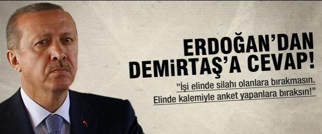 Başbakan'dan Demirtaş'a anket yanıtı