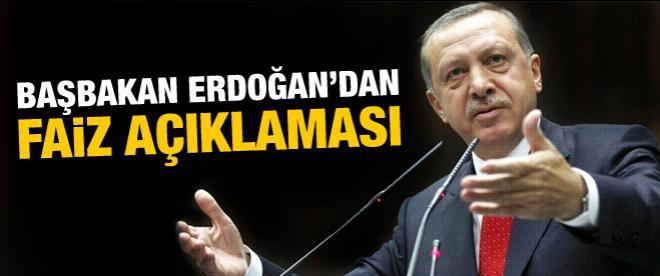 Başbakan Erdoğan'dan faiz açıklaması