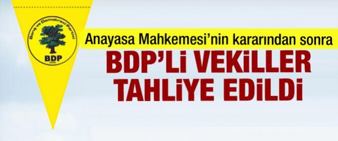BDP'li vekiller tahliye edildi