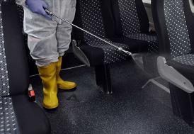 İstanbul'da servis araçları dezenfekte ediliyor