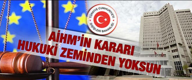 Dışişleri Bakanlığı'ndan AİHM'e Kıbrıs cevabı