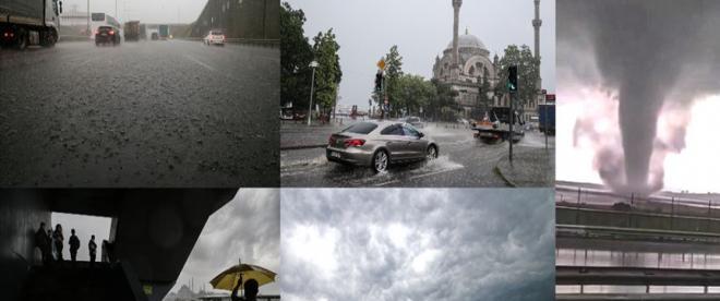 İstanbulda sağanak, hortum ve sel meydana geldi
