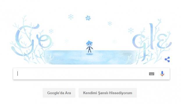 Google, kışın ilk gününü doodle yaptı