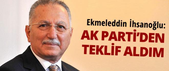 Ekmeleddin İhsanoğlu: AK Parti'den bana teklif geldi