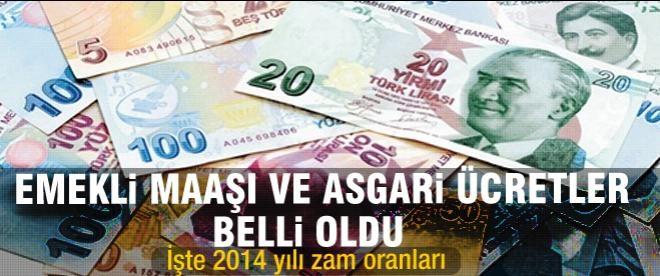 Emekli maaşı ve asgari ücrete 2014'te yapılacak zam