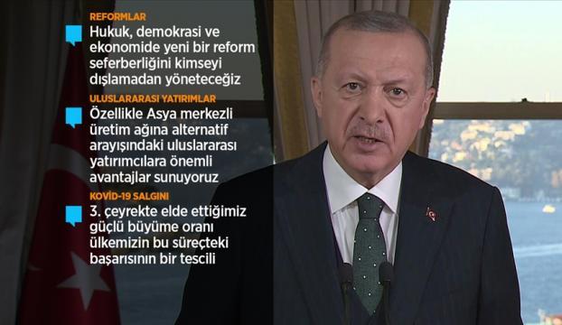 Cumhurbaşkanı Erdoğan: Türk ekonomisi hamdolsun toparlama sürecini başarıyla yürütüyor