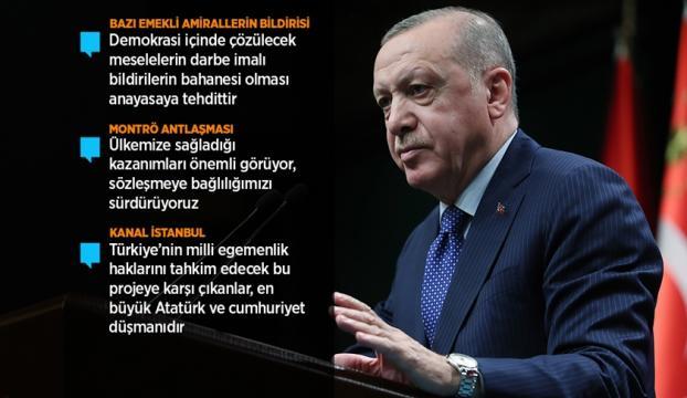 Cumhurbaşkanı Erdoğan: Milletin seçtiği yönetimi tehdit etme cüretini gösterenlere hadlerini milletimizle göstereceğiz