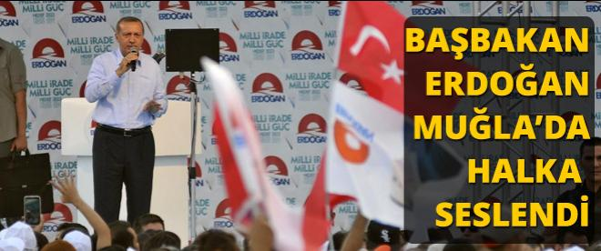 Cumhurbaşkanı adayı ve Başbakan Erdoğan'ın Muğla Mitingi