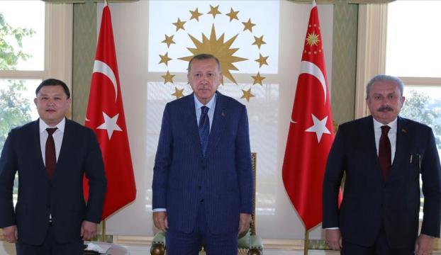 Cumhurbaşkanı Erdoğan, Kırgızistan Meclis Başkanı Cumabekovu kabul etti