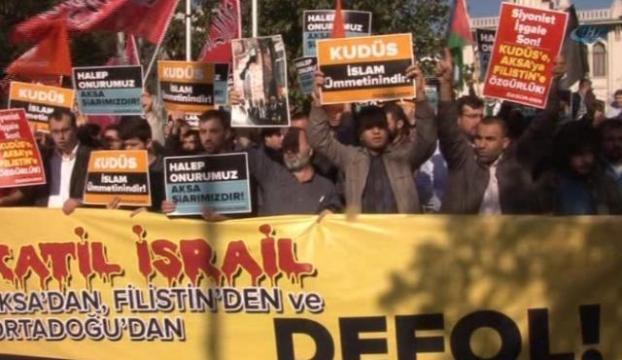 """Fatihte """"İsrail"""" protestosu"""