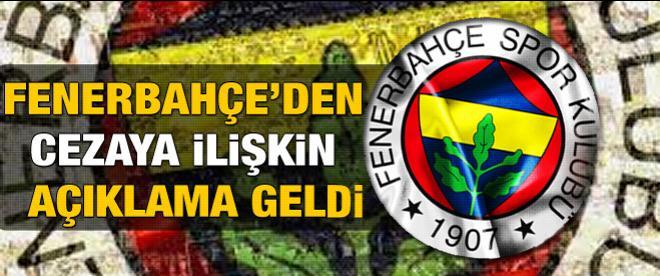 Fenerbahçe'den cezaya ilişkin açıklama
