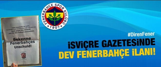 İsviçre gazetesinde Fenerbahçe ilanı
