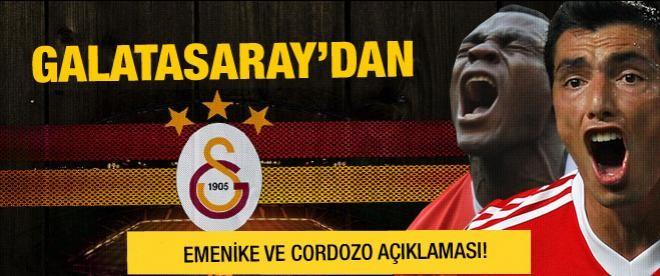 Galatasaray'dan Emenike ve Cardozo açıklaması!