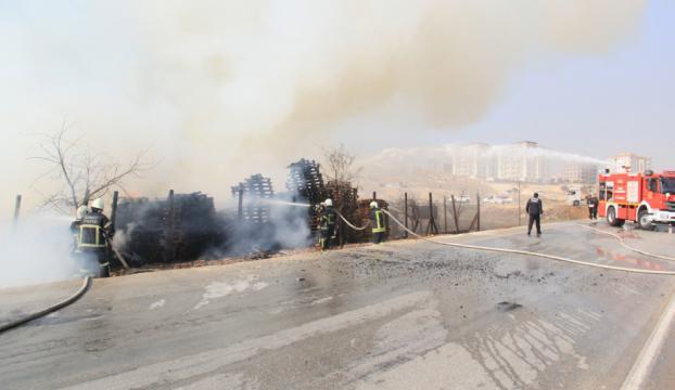 Gaziantepte kereste fabrikasındaki yangın