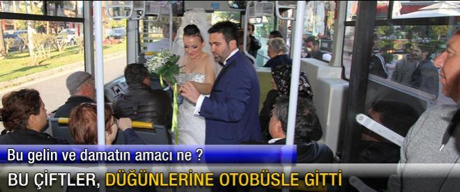 Bu çiftler, düğünlerine otobüsle gitti