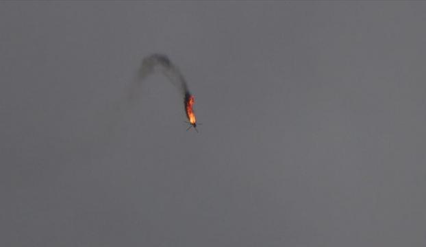 İdlibde Esed rejimine ait helikopter düşürüldü
