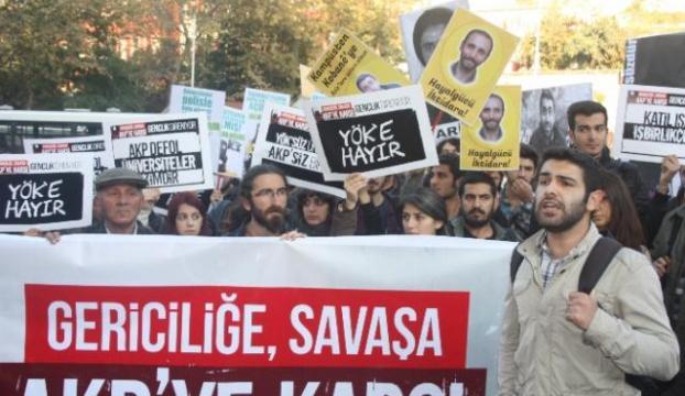 İstanbul üniversitesinde YÖK Ve Kobani protestosu