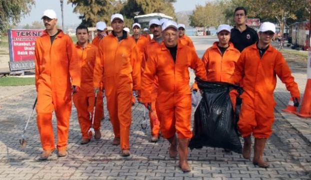 Mahkumlar doğayı temizledi