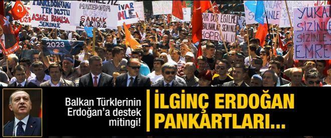 Makedonya'dan Erdoğan pankartları