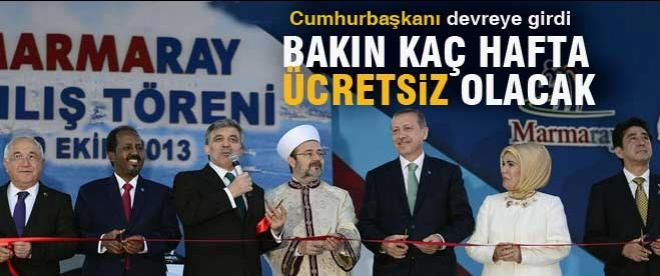 Marmaray 15 gün ücretsiz olacak
