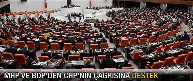 MHP ve BDP'den CHP'nin çağrısına destek