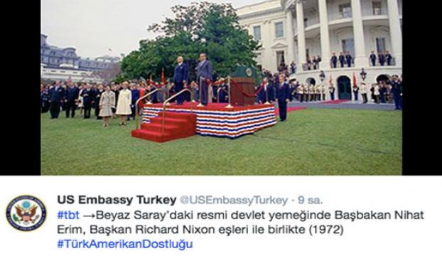 """ABDnin Ankara Büyükelçiliğinin tepki çeken """"Nihat Erim"""" paylaşımı"""