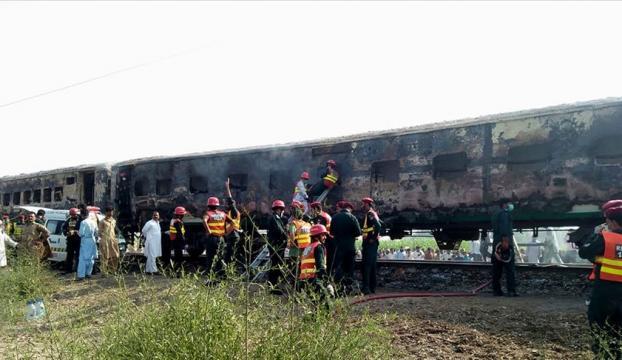 Pakistanda trende yangın: 65 ölü