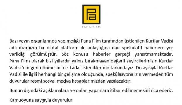 """Pana Film'den """"Kurtlar Vadisi"""" açıklaması"""