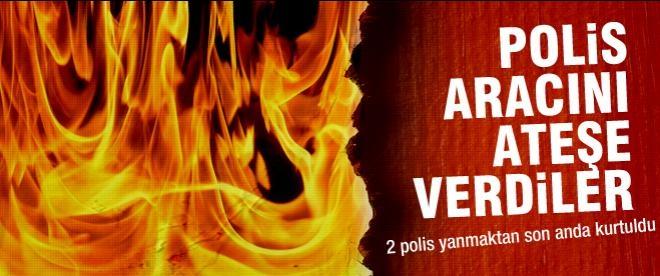 Şırnak'ta polis aracı ateşe verildi