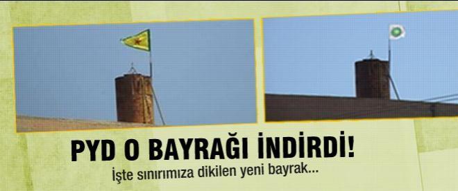 PYD'nin sınıra diktiği bayrak değişti