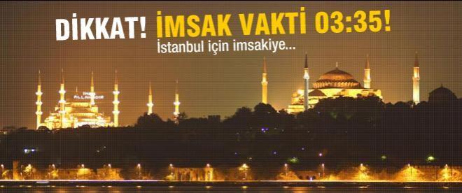 İstanbul için imsak ve iftar vakti