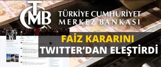 Merkez Bankası'nın faiz kararını Twitter'dan eleştirdi!
