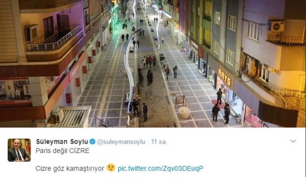 Süleyman Soyludan Cizre tweeti