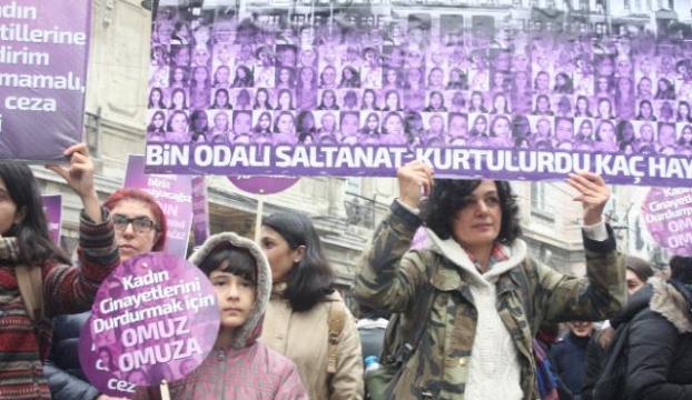 Taksimde kadına şiddet protesto edildi