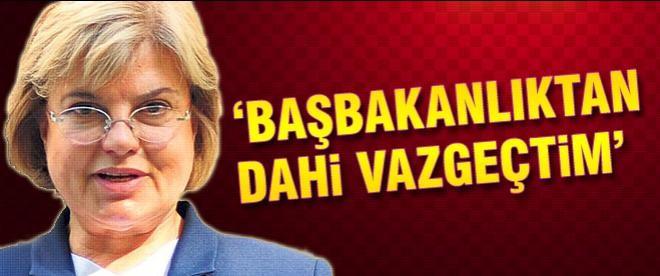 Tansu Çiller: Başbakanlıktan dahi vazgeçtim'